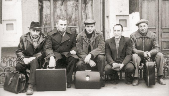 Five of the convicted in the Leningrad trials before they left for Israel, Moscow, Russia (USSR), 1979 From left: Arye Khanokh, Wolf Zalmanson, Boris Penson, Anatoly Altman, Hillel Butman The Oster Visual Documentation Center, Beit Hatfutsot, courtesy of Yona and Natan Schwartzman